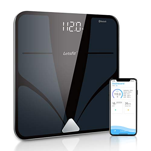 Bluetooth Body Fat Scale, Letsfit Smart Wireless Digital Bathroom Weight Scale, Body Composition Analyzer, Free APP for Body Weight, Fat, Water, BMI, Muscle, Bone, 400lb