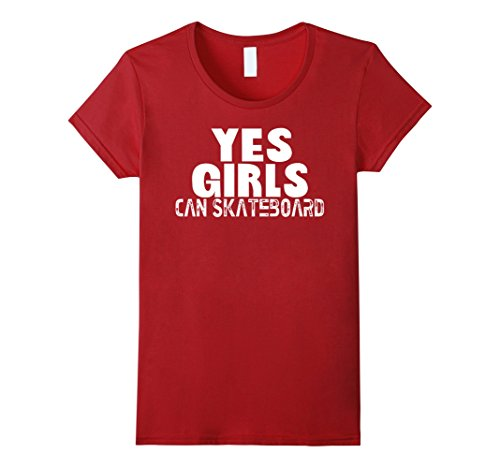 Womens Yes Girls Can Skateboard T-shirt XL Cranberry