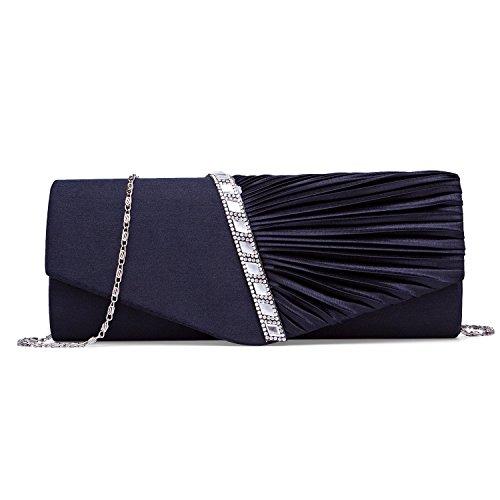 CLOCOLOR Pleated Crystal Studded Handbag Evening