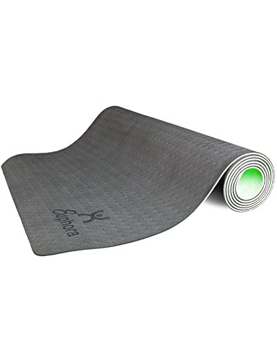 Non Slip Yoga Mat - Longer And Wider Than Other Exercise Mats - 4MM Thick High Density Padding To Avoid Sore Knees During Pilates, Stretching & Toning Workouts - For Men & Women - By Euphora (Memory Bay Cover)