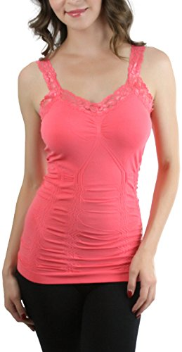 ToBeInStyle Women's Wrinkled Camisole - Coral - One Size (Girls Lace Trim Camis)