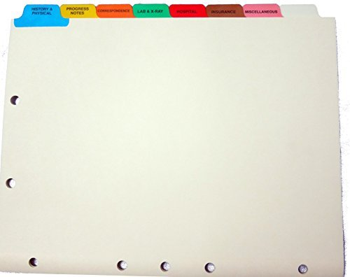 Medical Chart Index Set, 8 Side Tab, 9''''x11'''', 40/BX, MLA, Sold as 1 Box, 40 Each per Box
