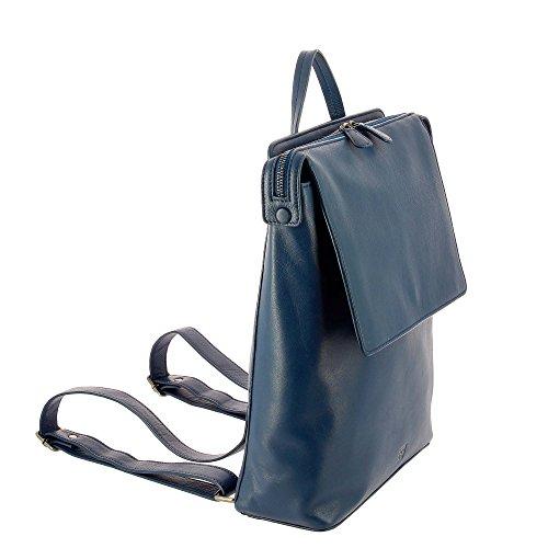 DUDU Mochila mujer hjombre de Piel suave Casual Moda de Viaje con Cremallera y solapa Azul