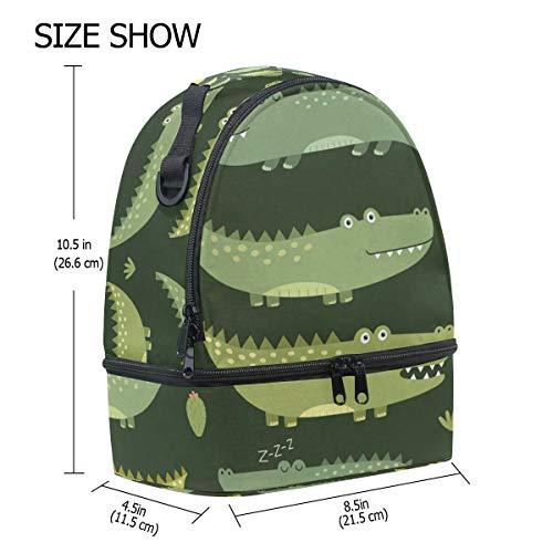 hombro el ajustable cocodrilo diseño aislamiento de escuela Alinlo con para de correa almuerzo color con con Bolsa verde de pincnic para la xwOSgqnZa