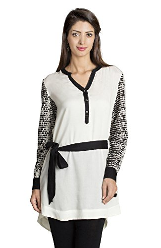 MOHR Women's Tunic Shirt with Printed Sleeves X-Large Off White by MOHR - Colors of India