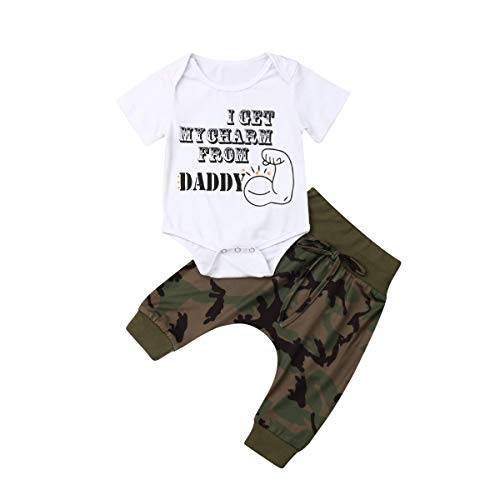 Casual Infant Baby Boy Summer Clothes I Get My Charm from Daddy Romper +Camouflage Pants Outfit Set 12-24M
