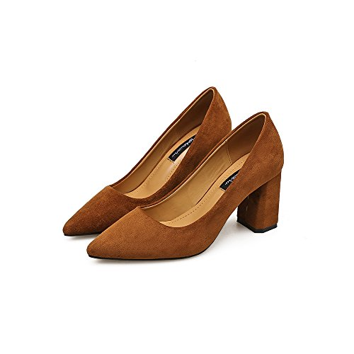 zapatos Brown Punta satinado boca superficial con Wild High con 37 Heel gruesos 77fEqU