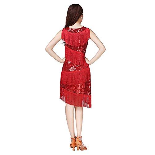 Rumba la Tassle Baile Traje Laties ESHOO Rojo Concurso Samba de Danza Lentejuelas Vestido latín de Tango 0qwnOdP
