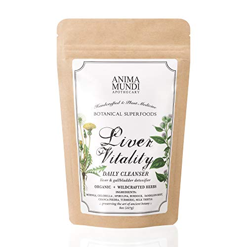 Anima Mundi Liver Vitality Daily Detox Powder – Botanical Superfood Blend for Liver Gallbladder Detox with Chlorella, Spirulina, Turmeric Chanca Piedra 8oz