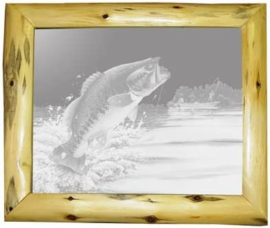 Amazon Com Decorative Log Framed Mirror Wall Decor With Bass Fishing Etched Mirror Bass Fishing Decor Unique Bass Fishing Gift Ideas Ready To Hang 20 X 24 Home Kitchen