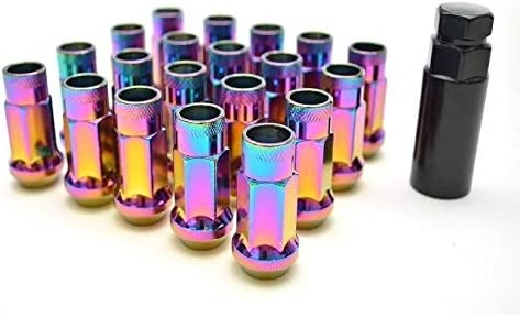 Customadeonly 20 Pieces Open End Extended Neo Chrome Finish Wheel Lug Nuts Set 48mm 1.89 Thread Pitch 12x1.25 Hex 17 Conical Seat