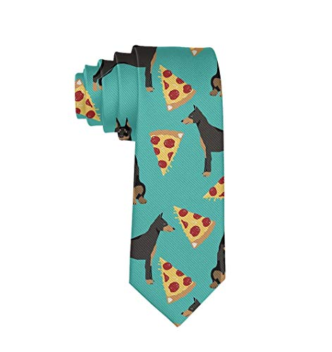 Mens & Boys Casual Necktie Doberman Pinscher Turquoise Pizza Regular For Suit, Office, Uniform, College, Wedding, Smooth Polyester Ties ()