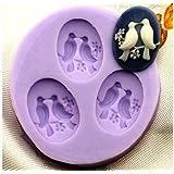 Allforhome 3 Cavity 2.4cm Mini Bird Silicone Sugar Resin Craft DIY Moulds Cake Decorating Fondant Molds