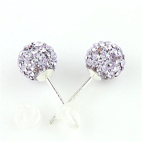 BAYUEBA Czech Crystal Disco Ball Glitter Earrings 8mm 925 Sterling (Swarovski Violet Round Beads)