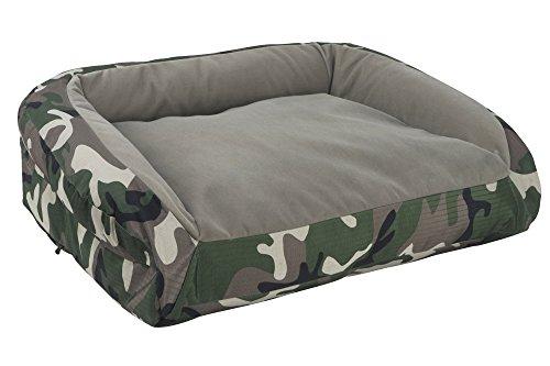 K9 Ballistics Nesting Bolstered TUFF Velvet Bed Brindle Velvet/Green Camo Ripstop – Medium (27″x33″x5″) For Sale