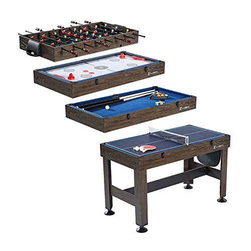 MD Sports Table Tennis, Slide Hockey, Foosball, Billiards, 54? 4-in-1 Combination Game Set with side Lock Clips - Quick Set-Up, Interchangeable, Fully Equipped
