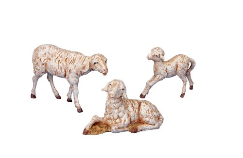 Fontanini White Sheep Family Italian Nativity Village Animals Figurines Set of 3 ()
