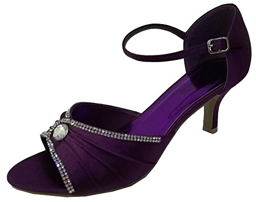 Chic Feet Womens Rhinestone Satin Prom Party Wedding Bridal Sandals Ladies Low Heel Bridesmaid Shoes Purple 1rlc69i