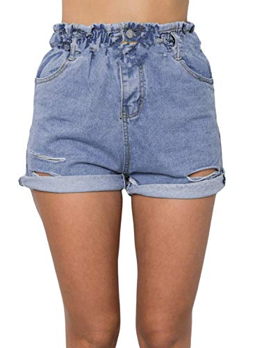 Sidefeel Women High Waist Paper Bag Waist Denim Shorts Large Sky Blue