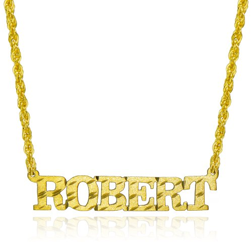 14K Yellow Gold Personalized Name Necklace - Style 9 (16 Inches, Rope Chain) by Pyramid Jewelry