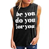 Garish Women's Cusual O-Neck Tank Top,Fashional Letter Print Camisole, Daily Style Activewear Black