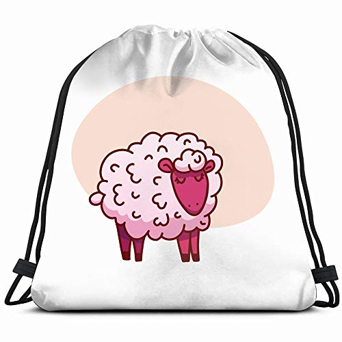 Cute Sleeping Sheep Poster Animals Wildlife Adorable Healthcare Medical Drawstring Backpack Gym Sack Lightweight Bag Water Resistant Gym Backpack For Women&Men For Sports,Travelling,Hiking,Camping,Sho ()