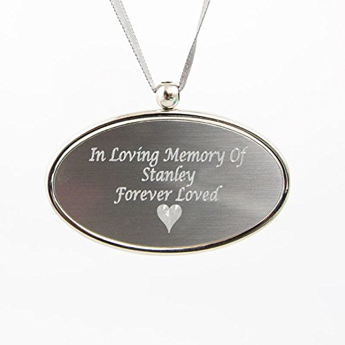 Oval Metal Memorial Keepsake Necklace for Loss of Loved One - Pewter Silver Cremation Urn Medallion - Custom Engraving Included