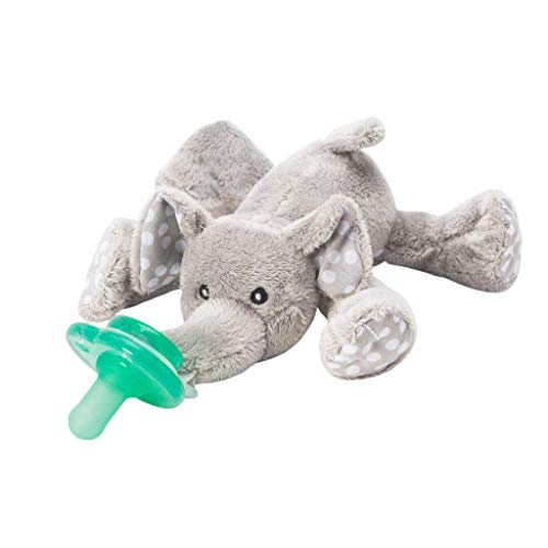 Nookums Paci-Plushies Buddies - Elephant Pacifier Holder - Adapts to Name Brand Pacifiers, Suitable for All Ages, Plush Toy Includes Detachable ...