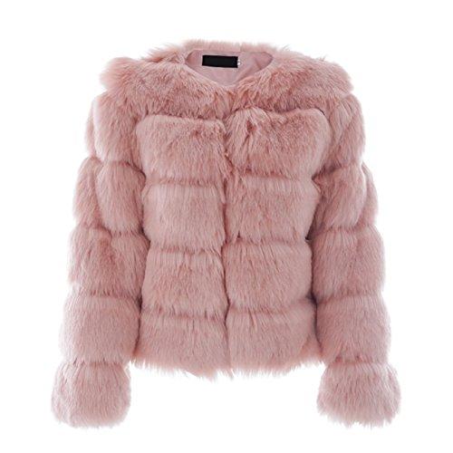 Mode Blouson 36 Femme Rose Courte Veste Fourrure Vintage Femmes Fausse Fourrure q87w4ga4