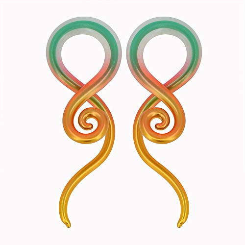 MoBody One Pair Pyrex Glass Ear Gauge Taper Hangers 4G-12mm Handmade Metallic Rainbow Glass Ear Gauge Plugs Set (2G (6mm))