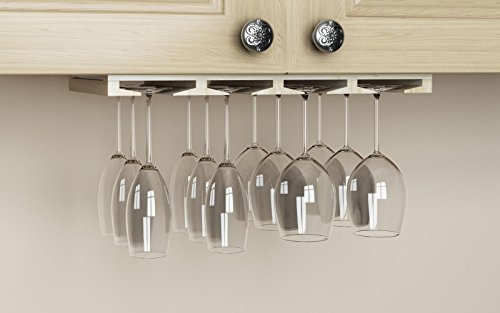Rustic State Stemware Wine Glass Rack Makes Dull Kitchens or Bar Looks Great Perfectly Fits 6-12 Glasses Under Cabinet Easy to Install with Included Screws Great Hanging Bar Glass Rack (Natural) by Rustic State (Image #2)
