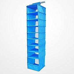 Transer Shelves Hanging Wardrobe Shoe Garment Organiser Storage Clothes 9 Section (Blue)