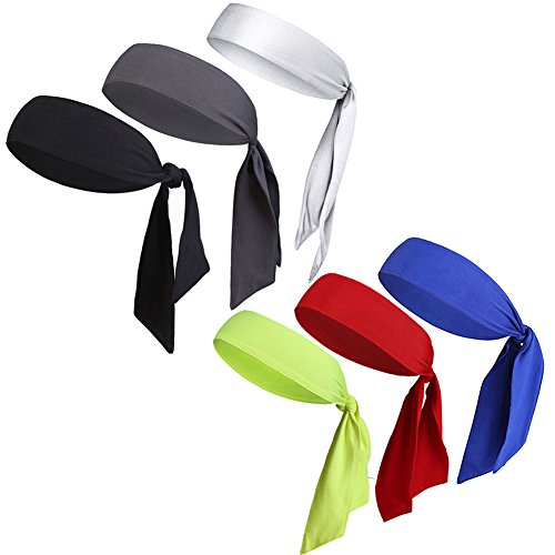 V-SPORTS Dri-Fit Head Ties Tennis Headbands Sweatbands for Women Men Boys Girls Kids Performance Elastic & Moisture Wicking (Assorted Colors 6PCS by, One Size 40.16