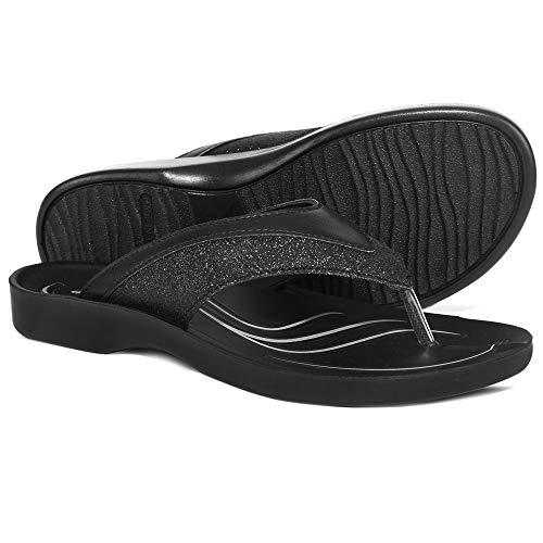 Low Slip - AEROTHOTIC - Low Heel Slides Comfortable and Slip Resistant (US-Women-9, Gleamy Black)