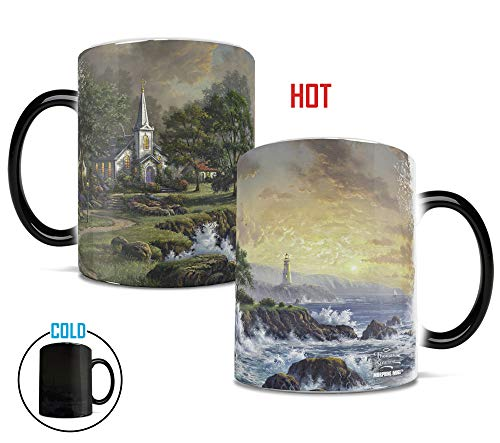 Morphing Mugs Thomas Kinkade Seaside Haven (Lighthouse and Church) Heat Reveal Ceramic Coffee Religion Mug - 11 Ounces