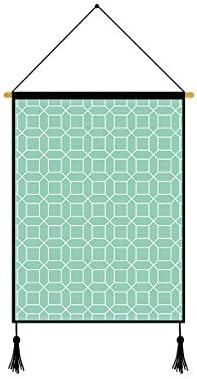 Blackish Green Fresh Lines - Rejilla geométrica de 45 x 64 cm, tela moderna de impresión de alta definición para colgar en la pared 17.7 X 25.5 Inches 7.octagon: Amazon.es: Hogar