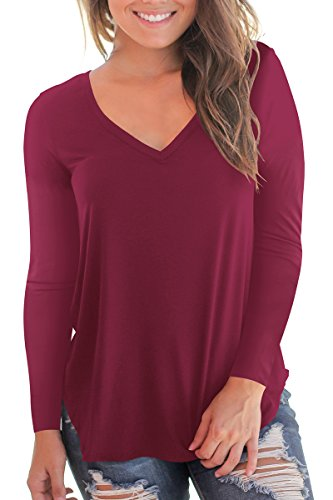 Women's V Neck Long Sleeve Loose Fit T Shirt Soft Tops Wine Red M