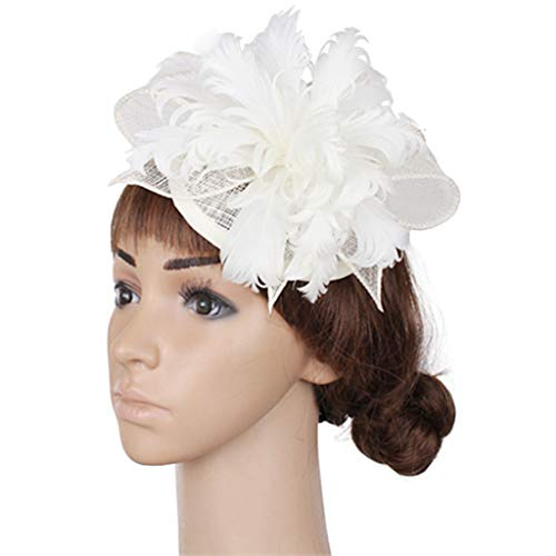 (Womens Sinamay Kentucky Hats Feather Flower Fascinators Bridal Wedding Party Hats Cocktail Hats)