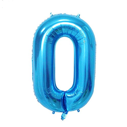 Babytree 40 Inch Birthday Helium Foil Digital Balloons Glossy Blue Number 0