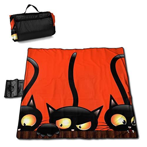 TARDIGA Black Cats Halloween Background Folding Portable Picnic