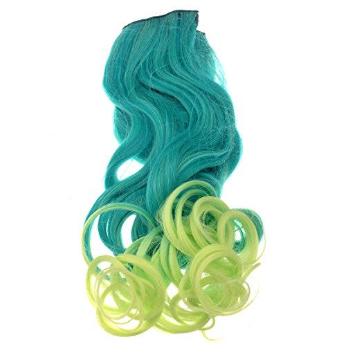 Tinksky Gradient Long Curly Wavy Clip-on Magic Wig Hairpiece Halloween Costumes