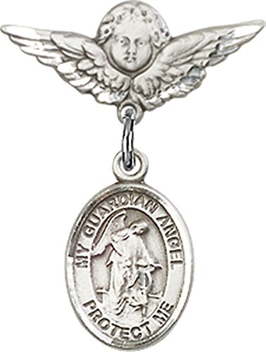 Sterling Silver Baby Badge Cherub Angel Pin with Guardian Angel Charm, 3/4 (Cherub Pin Brooch)