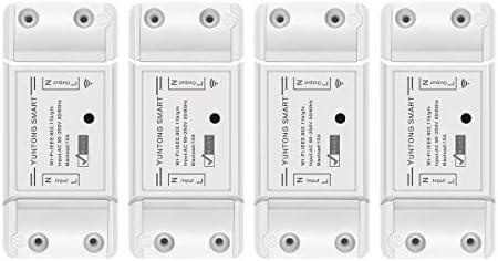 4 Paquetes Echo, Echo Dot Smart Switch Trabaja con Alexa //Google Home App Control Remoto WiFi Switch Control de Voz Cuenta Atr/ás Y Funci/ón de Temporizador para iOS Android AC 90-250V 2200W