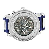 White Gold Tone Watch Mens Blue Bullet Rubber Band Analog Round Face Jojo Style