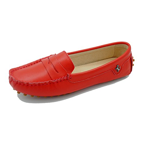 Minitoo - Mocasines de ante para mujer Smooth Leather-Red