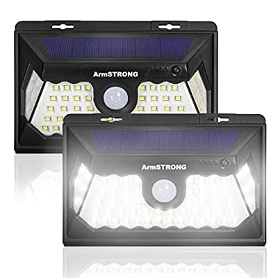 Armstrong Solar Outdoor Lights, Wireless Motion Sensor, 3 Optional Lighting Modes, 270° Wide Angle - IP65 Waterproof, Easy-to-Install Security Lights for Front Door, Yard, Garage, Deck, 2-Pack
