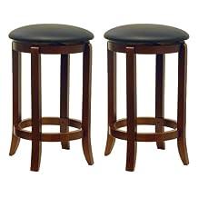 Winsome Wood 24-Inch Set of Two Black PVC Seat Bar Stools, Walnut