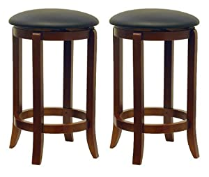 Winsome Wood 24-Inch Set of Two Black PVC Seat Bar Stools Walnut  sc 1 st  Amazon.com : bar stools wood and leather - islam-shia.org