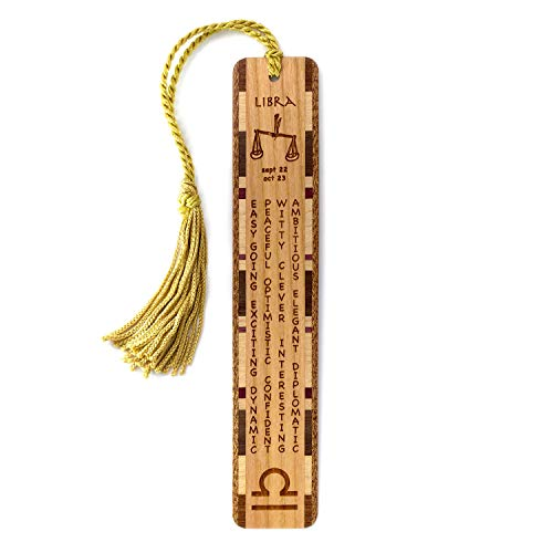 Libra Zodiac (Libra Zodiac Sign Artwork and Positive Personality Traits Engraved Wood Bookmark with Inlays and Tassel - Personalized Version Also Available - Search B074TJ5J42.)