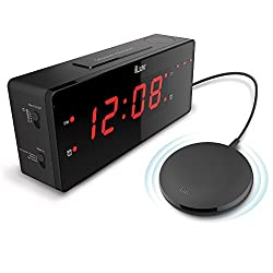 iLuv TimeShaker Wow - Upgrade Jumbo LED Dual Alarm Clock with Super Vibrating Wired Bed Shaker for Maximum Durability